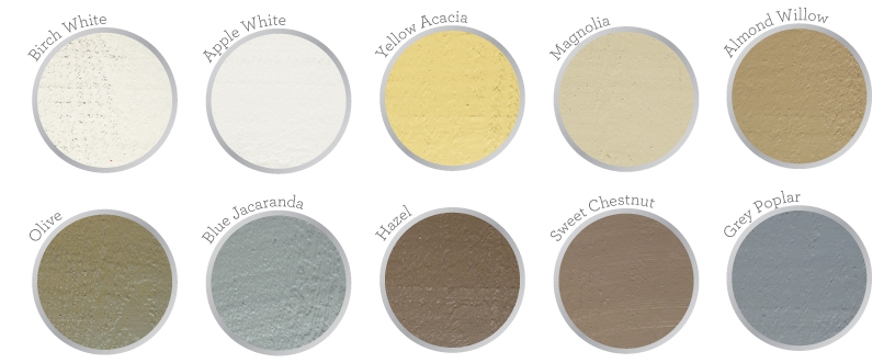 Range of colors available for Ecolap Cladding shown in swatches.